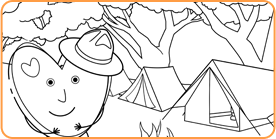 Coloring page with heart standing in front of campground