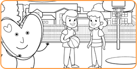 Coloring page with heart standing in front of a playground