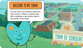 Heart character saying welcome to the town of consent